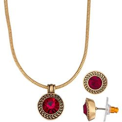 Napier Siam Red Glass Pendant Necklace & Earring Set