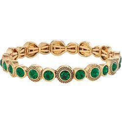 Napier Emerald Green Glass Stones & Gold Tone Bracelet