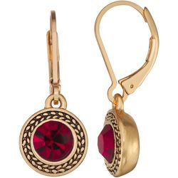 Napier Siam Red Glass Stone Drop Earrings
