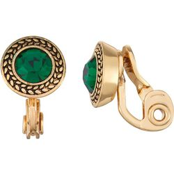 Napier Small Emerald Green Glass Clip On Earrings