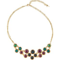 Napier Multi-Faceted Stone Cluster Front Necklace