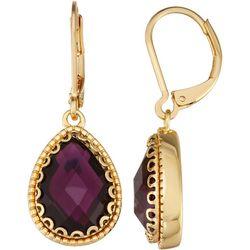Napier Purple Teardrop Leverback Earrings