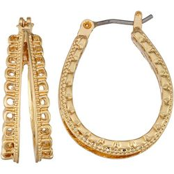 Napier Gold Tone Textured Double Row Hoop Earrings