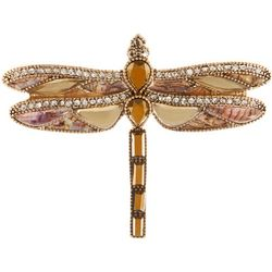 Napier Boxed Natural Gold Tone Dragonfly Pin
