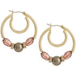 Napier Falling In Love Faux Pearl Beaded Hoop Earrings