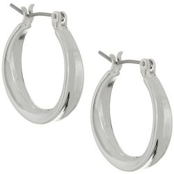 Napier Silver Tone Small Click-It Hoop Earrings