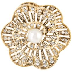 Napier Gold Tone Faux Pearl Flower Pin Brooch