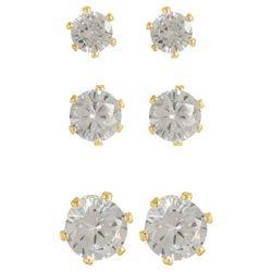 Napier 3-pc. Gold Tone Clear CZ Stud Earring Set