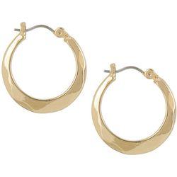 Napier Gold Tone Wavy Texture Hoop Earrings