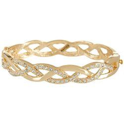 Napier Gold Tone Braided Hinge Bangle Bracelet