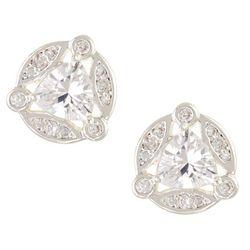 Napier Silver Tone Cubic Zirconia Round Stud Earrings