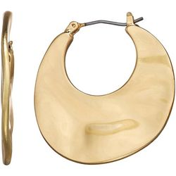 Napier Gold Tone Hammered Flat Hoop Earring