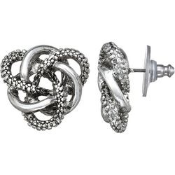 Napier Silver Tone Textured Knot Stud Earrings