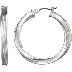 Napier Textured Round Click It Hoop Earrings