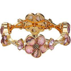 Napier Pink Flower & Crystal Stretch Bracelet