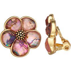 Napier Pink Flower Button Clip Earring