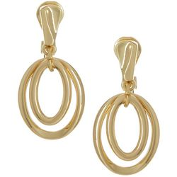 Napier Gold Tone Double Ring Clip On Drop Earrings