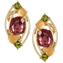 Napier Pink Multi Cluster Marquis Clip On Earrings