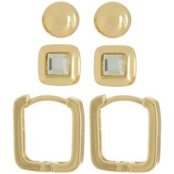 Napier Ball Stud & Huggie Hoop Earring Set