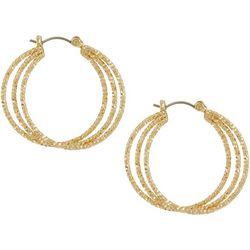Napier Textured Triple Row Hoop Earrings