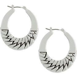 Napier Wide Flat Textured Silver Tone Hoop Earrings