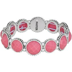 Napier Pink Facet Round Link Stretch Bracelet