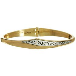Napier Two Tone Textured Hinged Bangle Bracelet