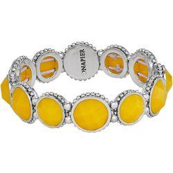 Napier Yellow Facet Round Link Stretch Bracelet