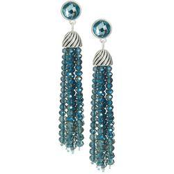 Napier Blue Multi-Faceted Bead Tassel Dangle Earrings