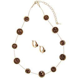 Napier Leopard Animal Print Necklace & Earring Set