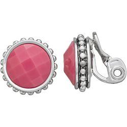 Napier Pink Facet Round Button Clip Earring