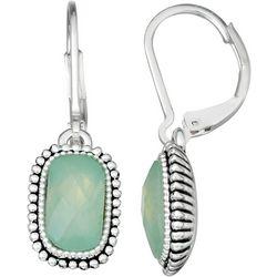 Napier Mint Green Rectangle Lever Back Earrings