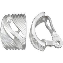 Napier Silver Tone Textured C Hoop Clip Earring