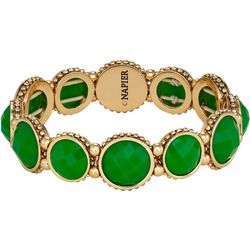 Napier Green Facet Round Link Stretch Bracelet