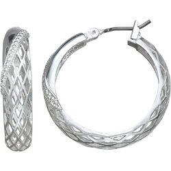 Napier Silver Tone Open Weave Hoop Earrings