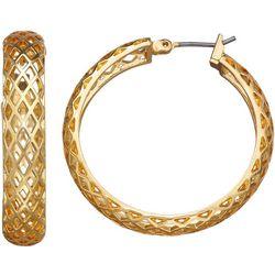 Napier Gold Tone Open Weave Hoop Earrings