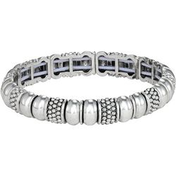 Napier Small Silver Tone Link Stretch Bracelet