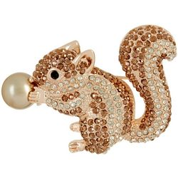 Napier Rose Gold Tone Multi Rhinestone Squirrel Pin