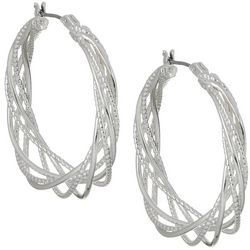 Napier 32mm Twisting Silver Tone Hoop Earrings