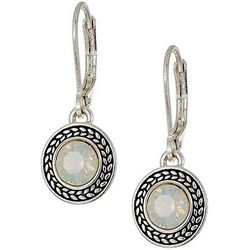 Napier Clear Round Stone Dangle Earrings
