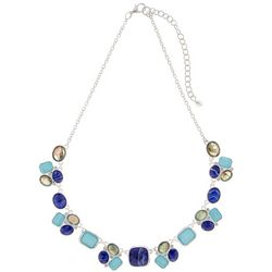 Napier Blue Multi Stone Cluster Necklace