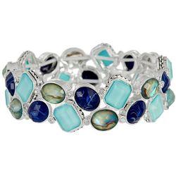 Napier Blue Multi-Faceted Stones Stretch Bracelet