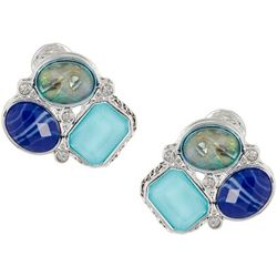 Napier Blue Multi Cluster Button Clip On Earrings