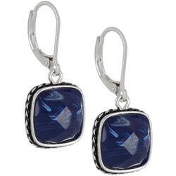 Napier Blue Square Drop Leverback Earrings