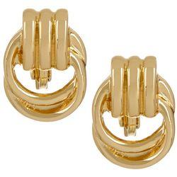 Napier Small Gold Tone Door Knocker Clip On Earrings