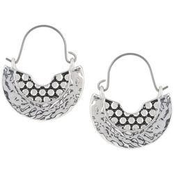 Napier Textured Half Moon Wire Drop Earrings