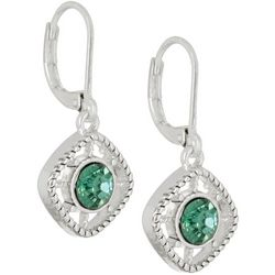 Napier Light Green Stone Square Earrings