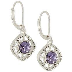 Napier Glass Purple Stone Drop Earrings