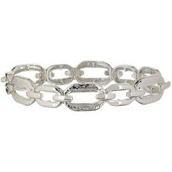 Napier Silver Tone Oval Link Stretch Bracelet