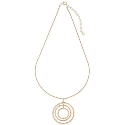 5ad6e80e989f8 Napier Gold Tone Triple Ring Pendant Necklace